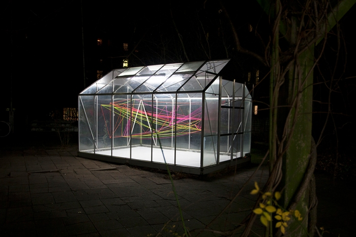 jenny keuter_day night light_2013_super bien greenhouse for contemporary art_berlin_fluorescent orange pink and yellow wool translucent string_various dimensions_1