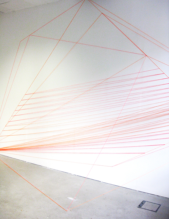 jenny keuter_spatial structures_2013_the wye_berlin_fluorescent orange and pink wool and nails_various dimensions_2
